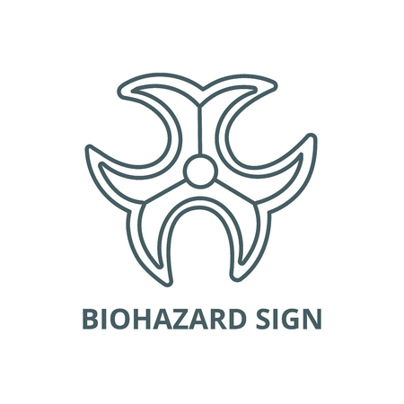 Biohazard sign line icon, vector. Biohazard sign outline sign, concept symbol, illustration