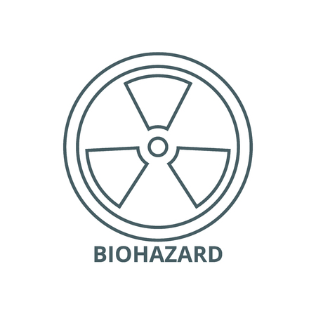 Biohazard,dangerous radiation line icon, vector. Biohazard,dangerous radiation outline sign, concept symbol, illustration Stock fotó - 120732893