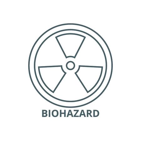 Biohazard,dangerous radiation line icon, vector. Biohazard,dangerous radiation outline sign, concept symbol, illustration