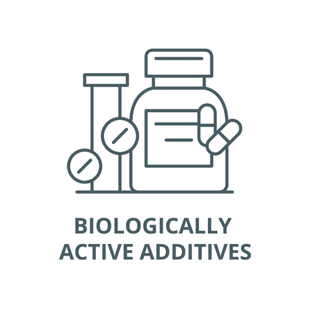 Biologically active additives line icon, vector. Biologically active additives outline sign, concept symbol, illustration Illustration
