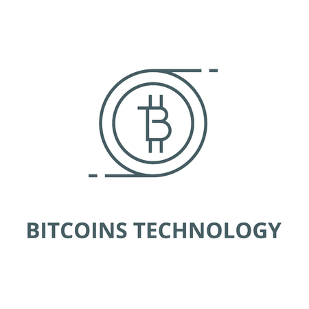 Bitcoins technology line icon, vector. Bitcoins technology outline sign, concept symbol, illustration