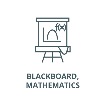 Blackboard,mathematics line icon, vector. Blackboard,mathematics outline sign, concept symbol, illustration
