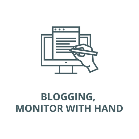 Blogging, monitor with hand line icon, vector. Blogging, monitor with hand outline sign, concept symbol, illustration