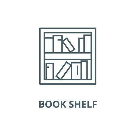 Book shelf line icon, vector. Book shelf outline sign, concept symbol, illustration