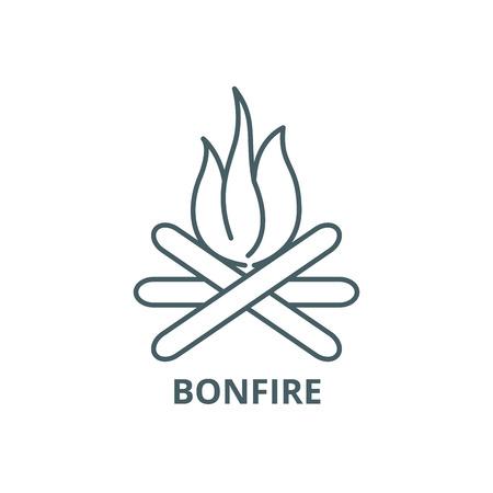 Bonfire line icon, vector. Bonfire outline sign, concept symbol, illustration