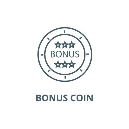 Bonus coin line icon, vector. Bonus coin outline sign, concept symbol, illustration