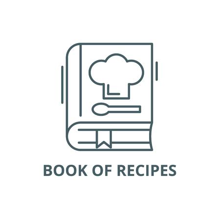 Księga receptur linia ikona, wektor. Księga przepisów zarys znak, symbol koncepcji, ilustracja