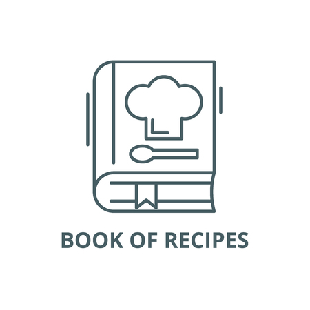 Book of recipes line icon, vector. Book of recipes outline sign, concept symbol, illustration