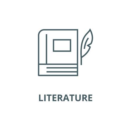 Book with pen,literature line icon, vector. Book with pen,literature outline sign, concept symbol, illustration