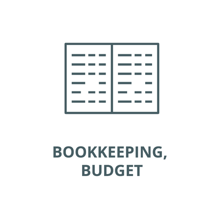 Bookkeeping, budget line icon, vector. Bookkeeping, budget outline sign, concept symbol, illustration Stock Vector - 123749352