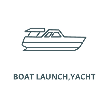 Boat launch,yacht line icon, vector. Boat launch,yacht outline sign, concept symbol, illustration Çizim
