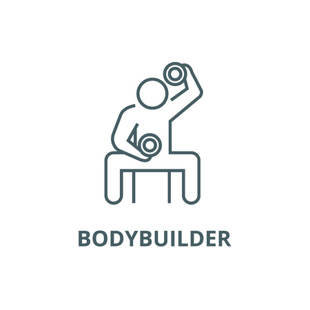 Bodybuilder holding dumbell line icon, vector. Bodybuilder holding dumbell outline sign, concept symbol, illustration