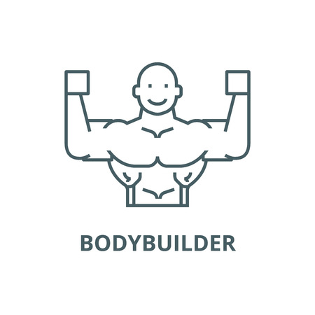 Bodybuilder line icon, vector. Bodybuilder outline sign, concept symbol, illustration