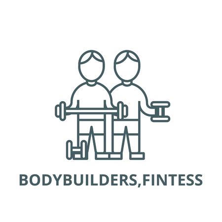 Bodybuilders,fintess  line icon, vector. Bodybuilders,fintess  outline sign, concept symbol, illustration Illustration
