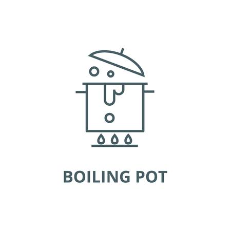 Boiling pot line icon, vector. Boiling pot outline sign, concept symbol, illustration Illustration