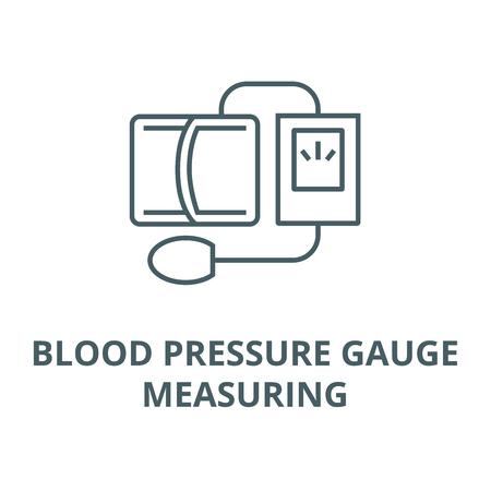 Blood pressure gauge,measuring line icon, vector. Blood pressure gauge,measuring outline sign, concept symbol, illustration Illusztráció