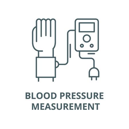 Blood pressure measurement line icon, vector. Blood pressure measurement outline sign, concept symbol, illustration