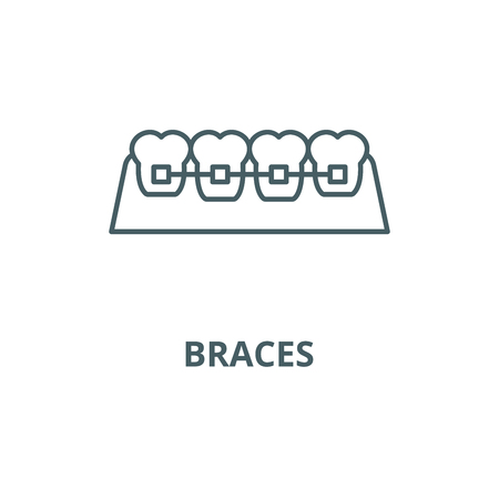 Braces line icon, vector. Braces outline sign, concept symbol, illustration
