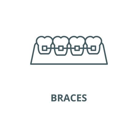 Braces line icon, vector. Braces outline sign, concept symbol, illustration