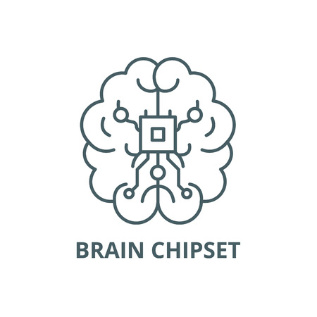 Brain chipset line icon, vector. Brain chipset outline sign, concept symbol, illustration Illustration