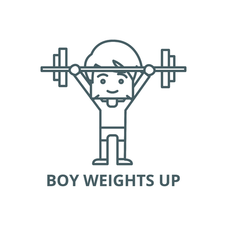 Boy weights up line icon, vector. Boy weights up outline sign, concept symbol, illustration Illustration