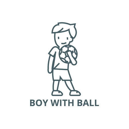 Boy with ball line icon, vector. Boy with ball outline sign, concept symbol, illustration  イラスト・ベクター素材