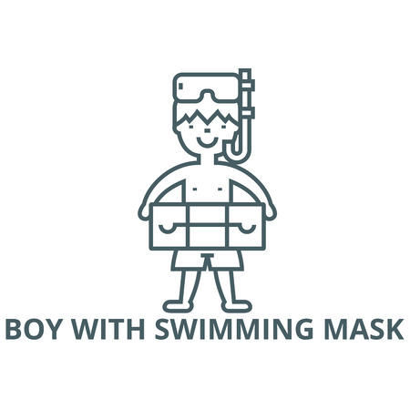 Boy with swimming mask  line icon, vector. Boy with swimming mask  outline sign, concept symbol, illustration