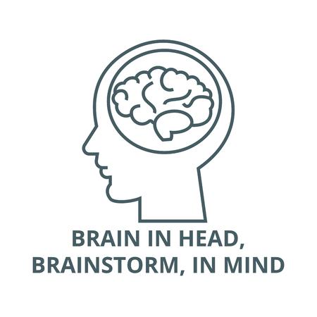 Brain in head,brainstorm, in mind line icon, vector. Brain in head,brainstorm, in mind outline sign, concept symbol, illustration Çizim