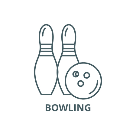 Bowling line icon, vector. Bowling outline sign, concept symbol, illustration