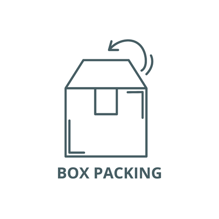 Box packing line icon, vector. Box packing outline sign, concept symbol, illustration