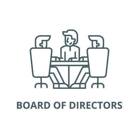 Icône de ligne de réunion du conseil d'administration, vecteur. Conseil d'administration réunion signe de contour, symbole de concept, illustration