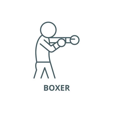 Boxer line icon, vector. Boxer outline sign, concept symbol, illustration Archivio Fotografico - 120733162