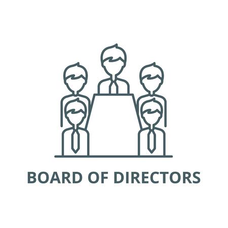 Icône de ligne de conseil d'administration, vecteur. Conseil d'administration contours signe, symbole de concept, illustration