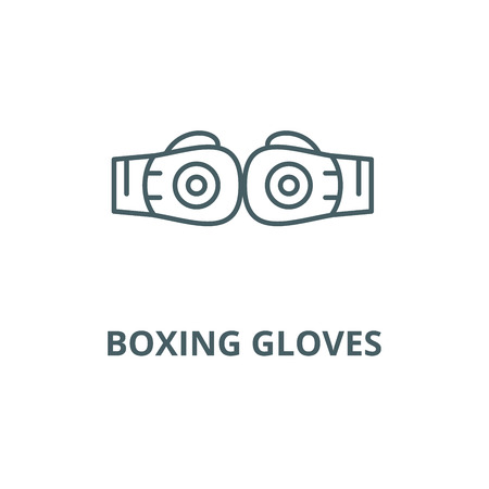 Boxing gloves line icon, vector. Boxing gloves outline sign, concept symbol, illustration Archivio Fotografico - 120733164