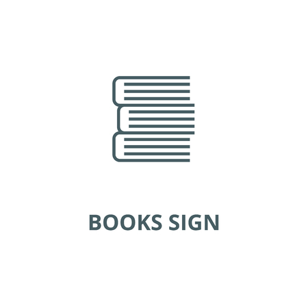 Books sign line icon, vector. Books sign outline sign, concept symbol, illustration