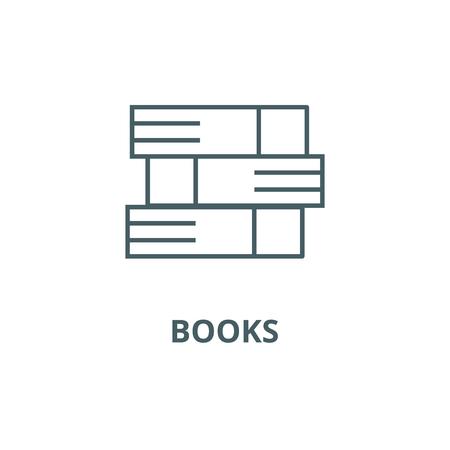 Books line icon, vector. Books outline sign, concept symbol, illustration