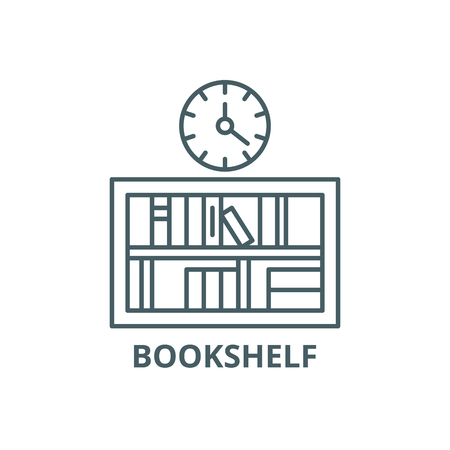 Bookshelf with clock line icon, vector. Bookshelf with clock outline sign, concept symbol, illustration