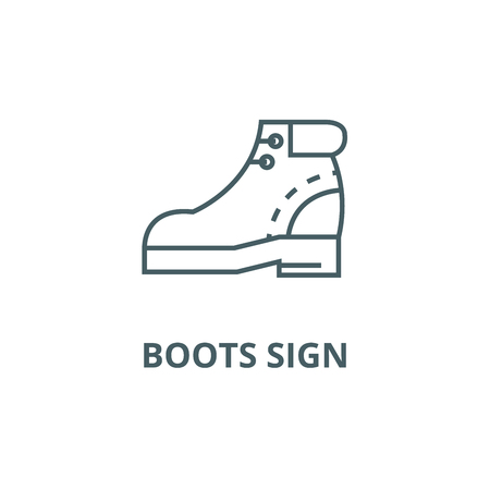 Boots sign line icon, vector. Boots sign outline sign, concept symbol, illustration