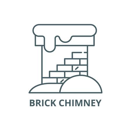 Brick chimney line icon, vector. Brick chimney outline sign, concept symbol, illustration Stock Vector - 123749376