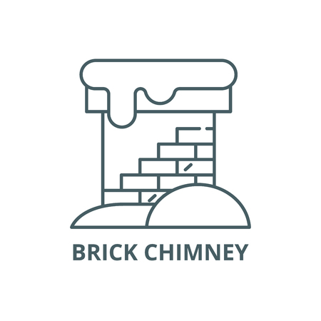 Brick chimney line icon, vector. Brick chimney outline sign, concept symbol, illustration