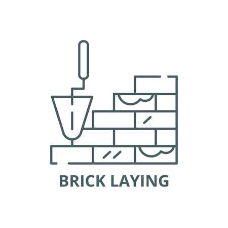 Brick laying line icon, vector. Brick laying outline sign, concept symbol, illustration Stock Vector - 123749378