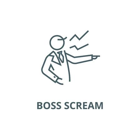 Boss scream line icon, vector. Boss scream outline sign, concept symbol, illustration Çizim