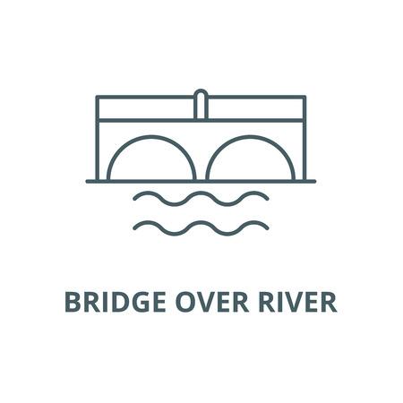 Bridge over river line icon, vector. Bridge over river outline sign, concept symbol, illustration Illustration