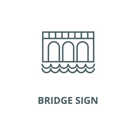 Bridge sign line icon, vector. Bridge sign outline sign, concept symbol, illustration  イラスト・ベクター素材