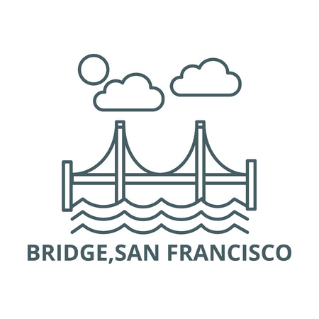 Bridge,san francisco line icon, vector. Bridge,san francisco outline sign, concept symbol, illustration 写真素材 - 123749388