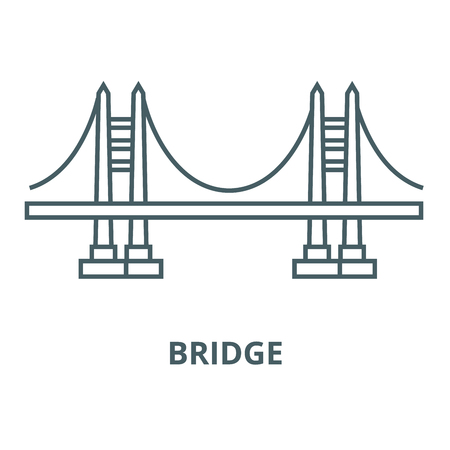 Bridge line icon, vector. Bridge outline sign, concept symbol, illustration