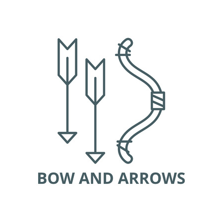 Bow and arrows line icon, vector. Bow and arrows outline sign, concept symbol, illustration
