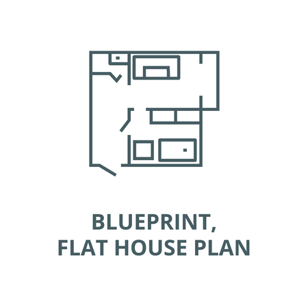 Blueprint,flat house plan line icon, vector. Blueprint,flat house plan outline sign, concept symbol, illustration