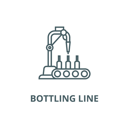 Bottling line line icon, vector. Bottling line outline sign, concept symbol, illustration