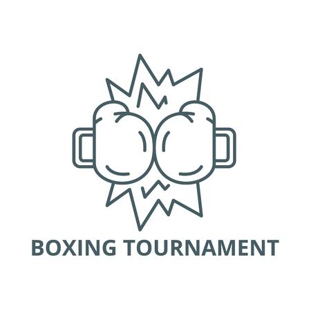 Boxing tournament line icon, vector. Boxing tournament outline sign, concept symbol, illustration Illustration